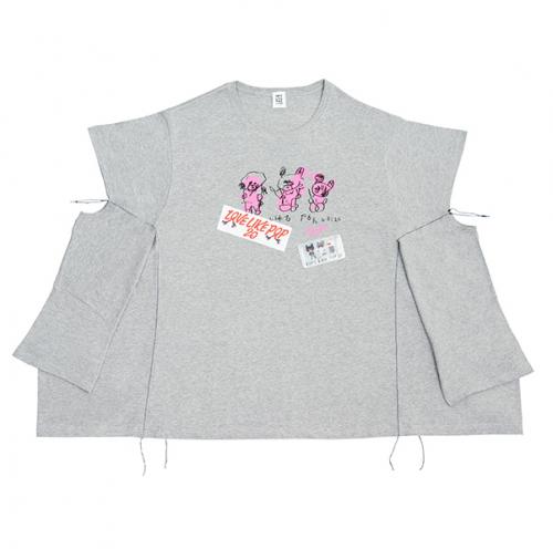 さらに手を広げたBig おTシャツ《グレー》